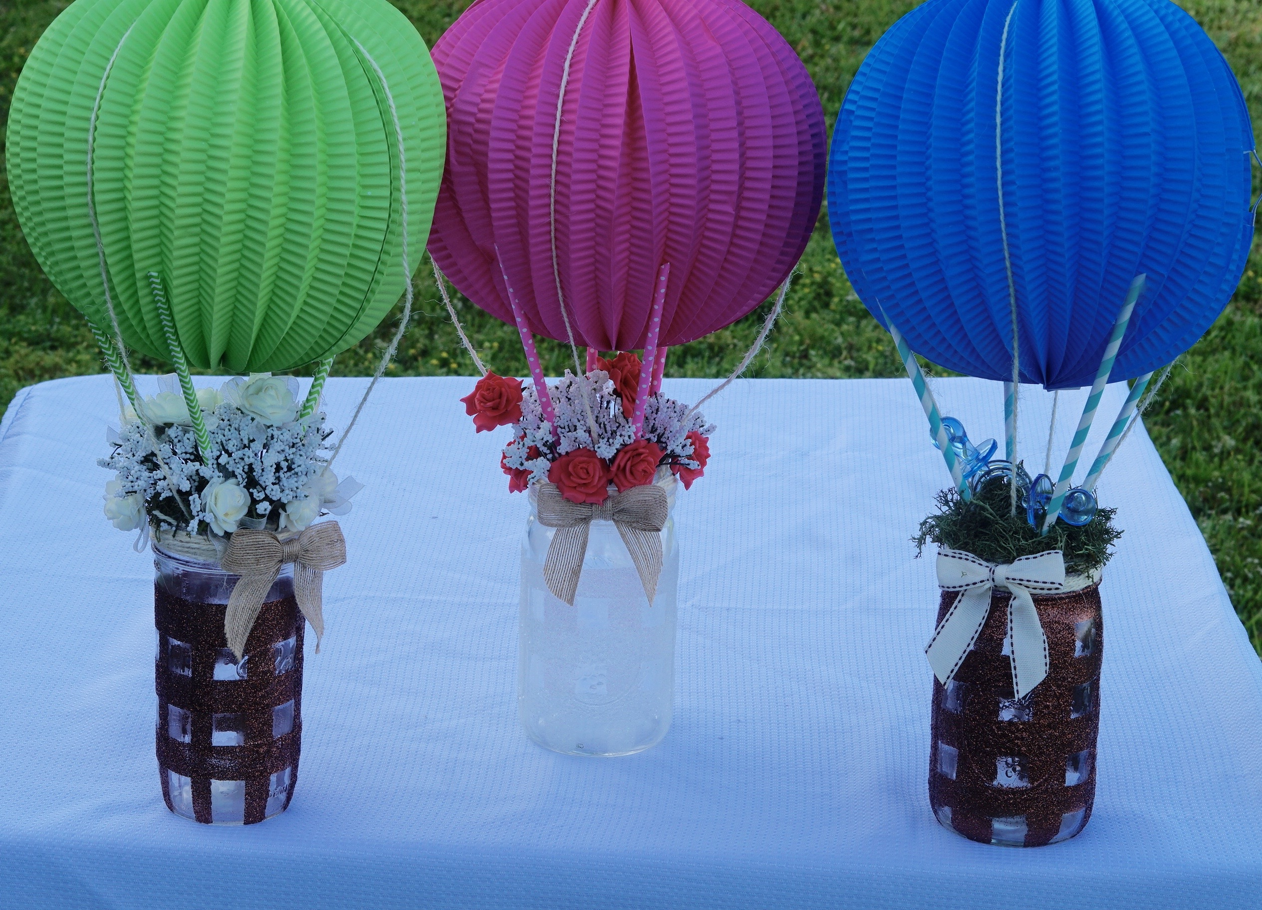 DIY Up Up and Away Baby Shower Centerpiece