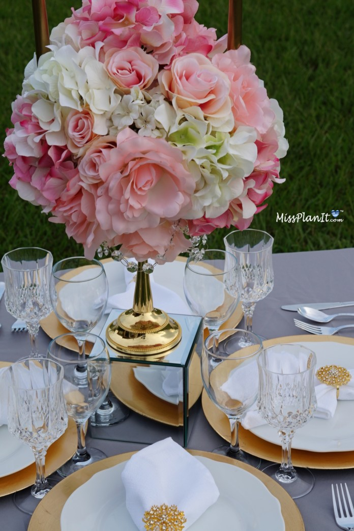 Gold candelabra wedding centerpiece