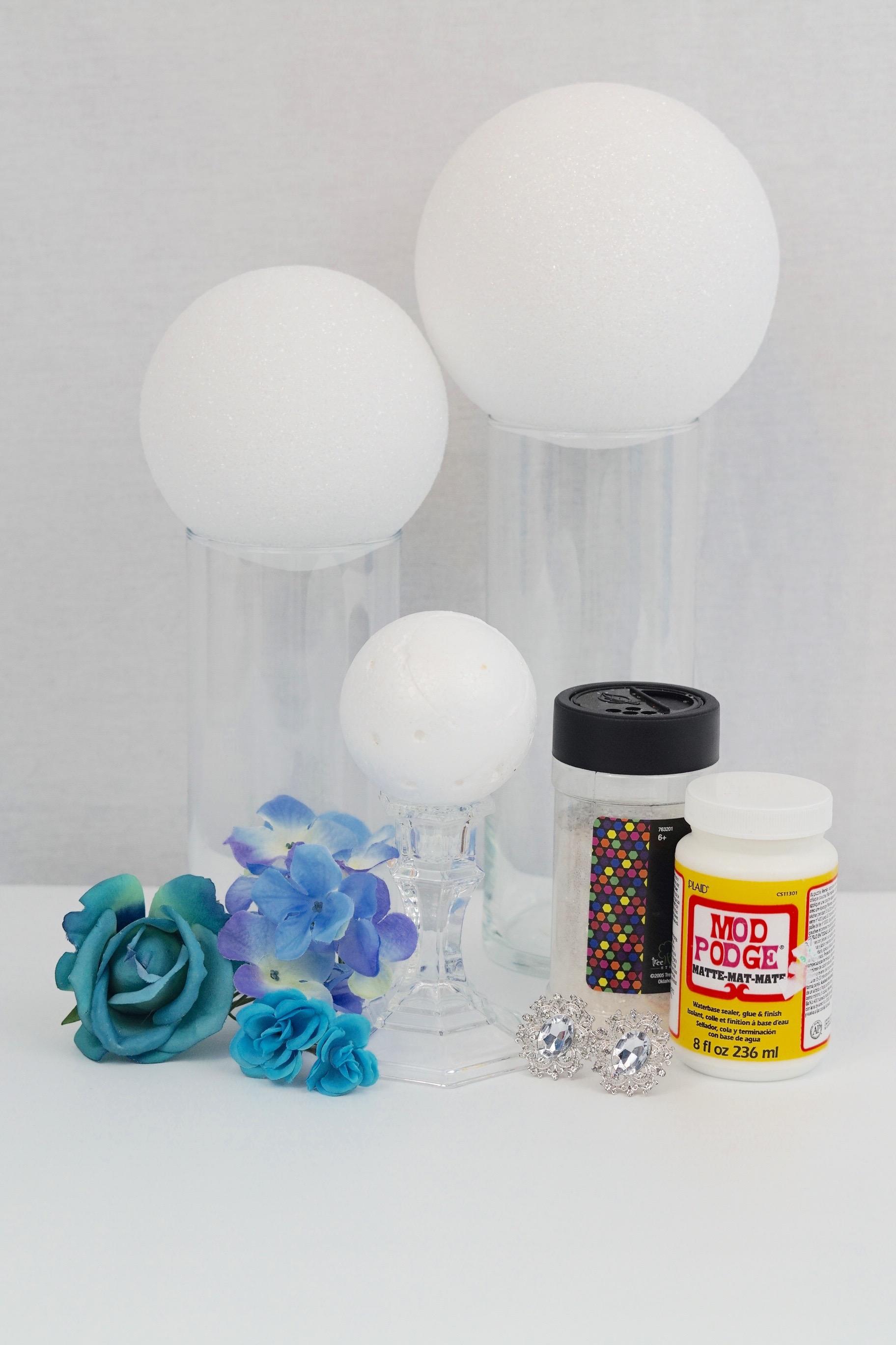 Dollar tree inspired glitz wedding centerpiece 9 inch cylinder vase 4 inch glass candle stick crystal glitter 4 inch foam sphere 2 inch foam sphere reviewsmspy