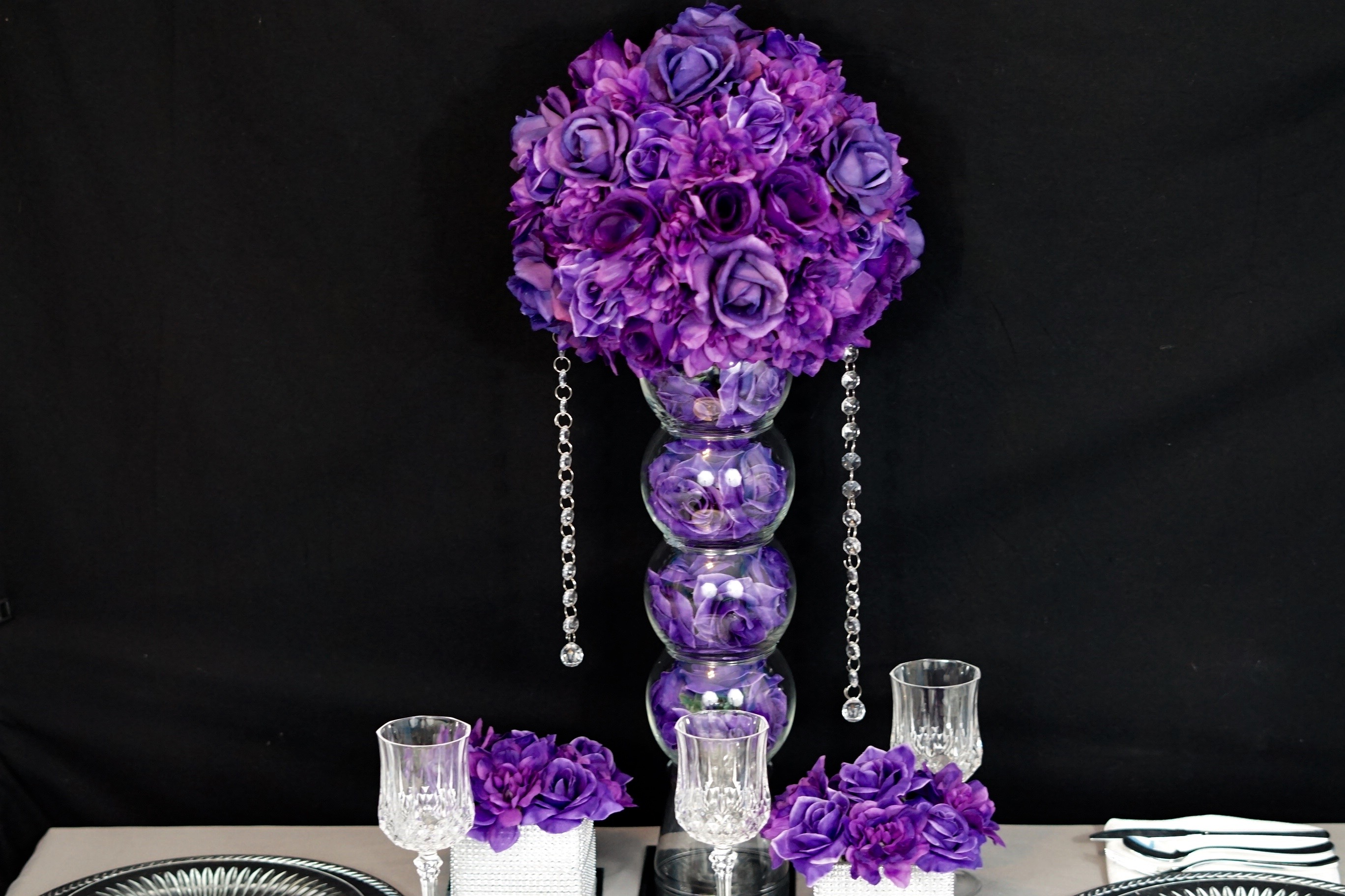Wedding centerpieces diy purple choice image wedding for Wedding dress vase centerpiece