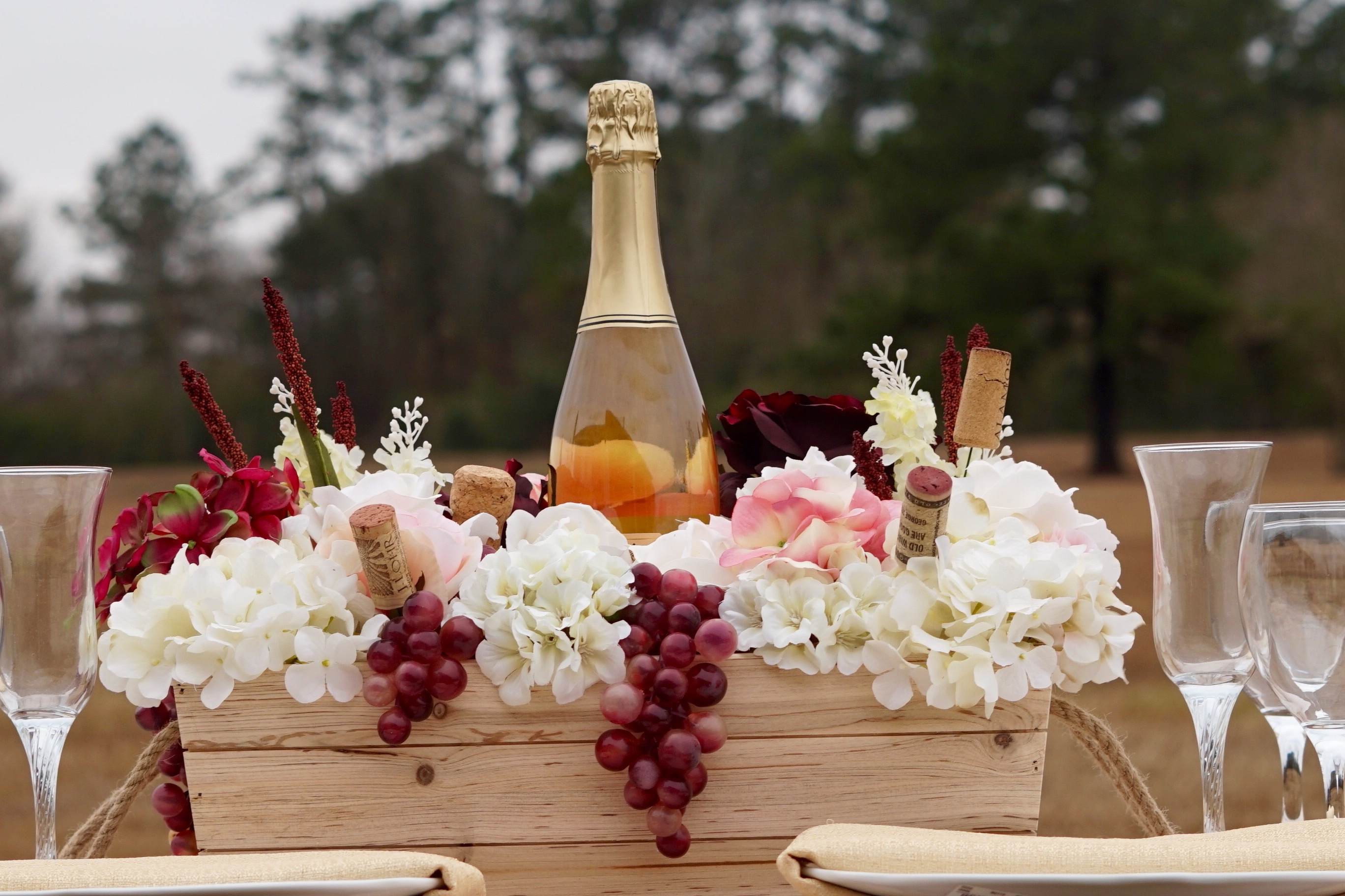 Rustic wine themed wooden crate diy wedding centerpiece for Wine themed centerpieces