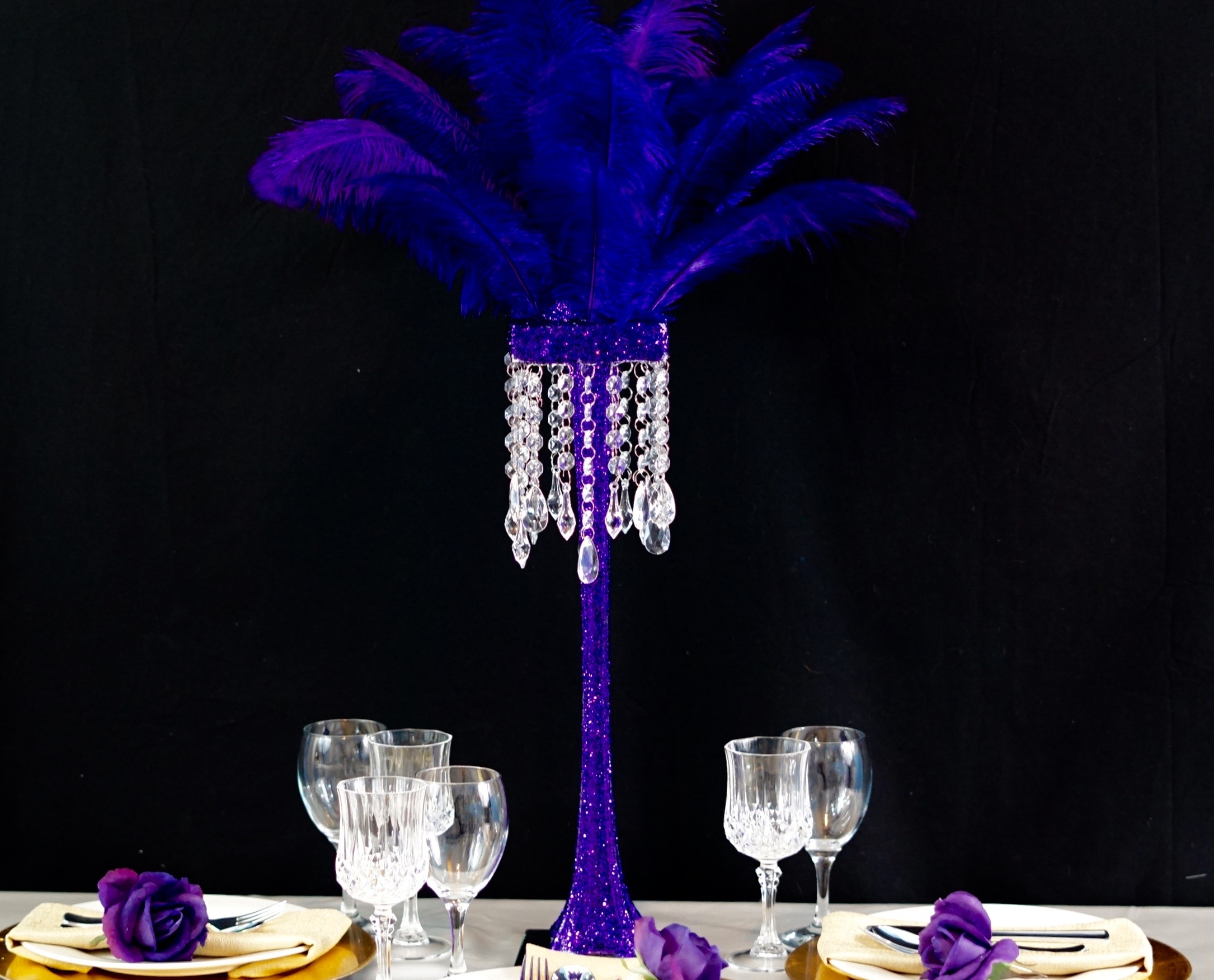 Fabulous tall purple feather diy centerpiece in easy steps