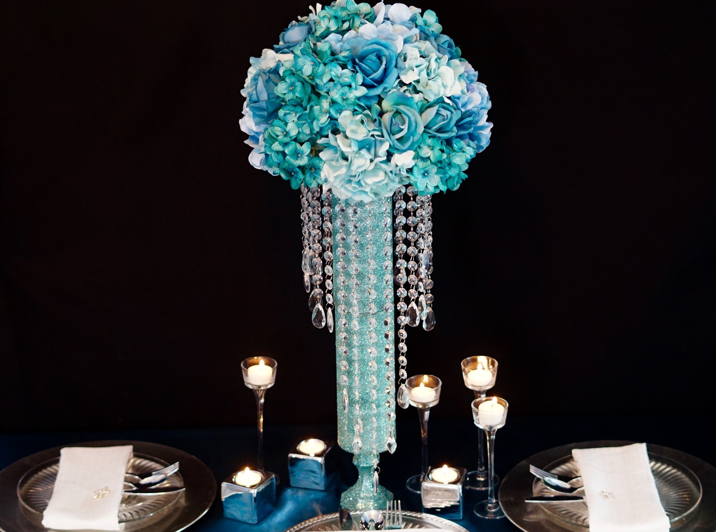 Blue diy wedding centerpieces for your under the sea beach