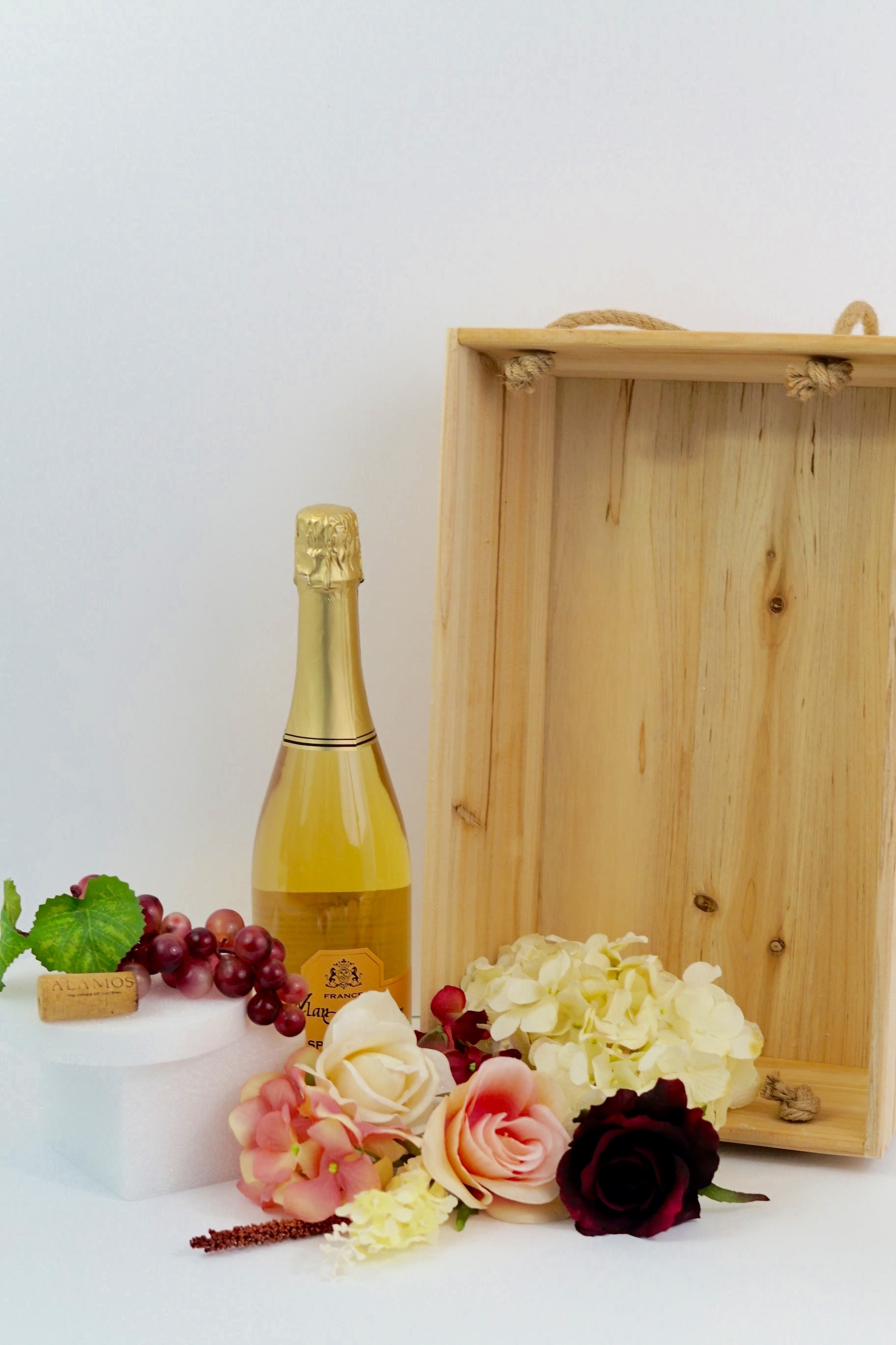 Rustic wine themed wooden crate diy wedding centerpiece wooden crate junglespirit Image collections