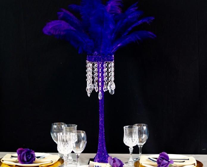 Purple Feather Centerpiece 18