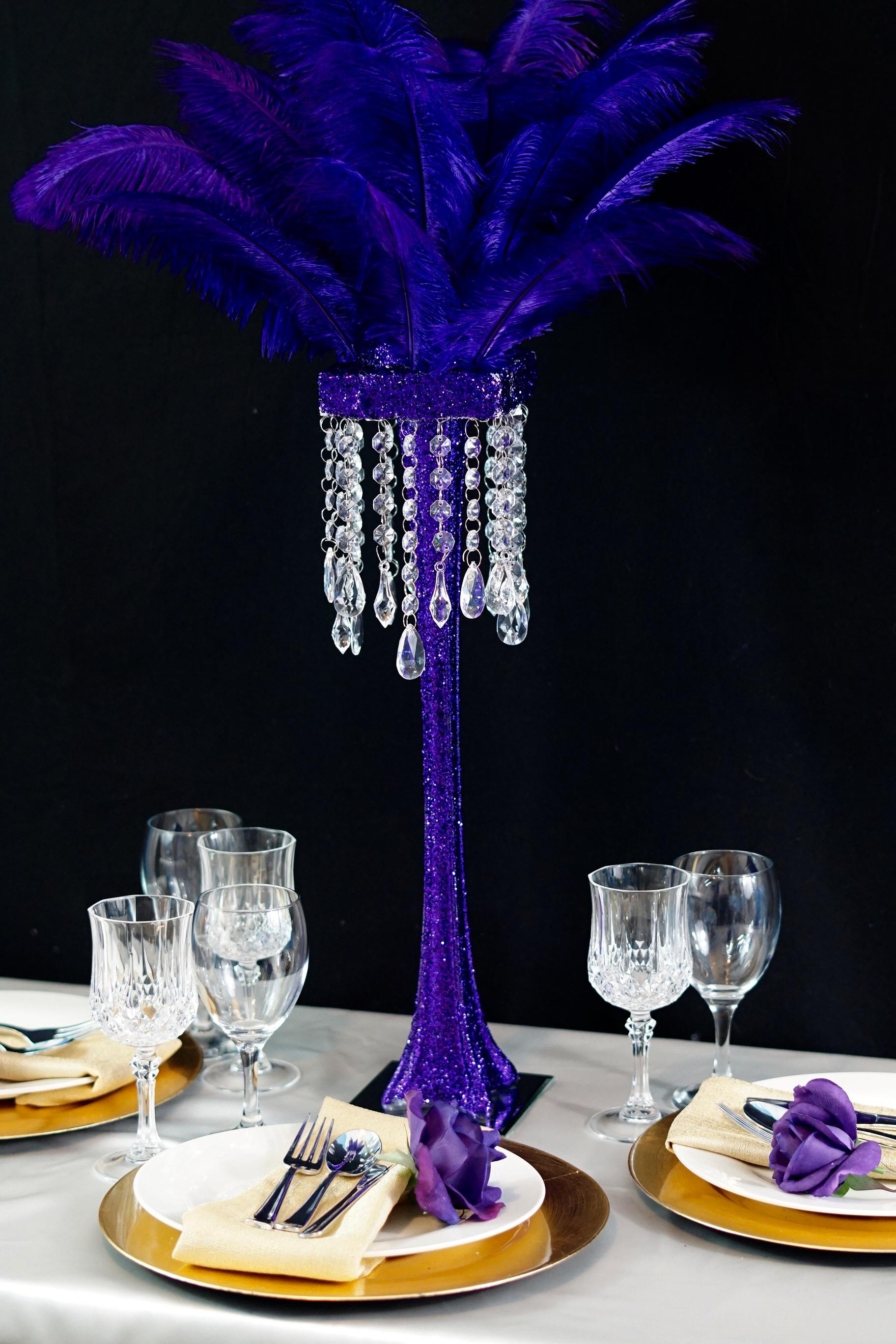 Purple Feather Centerpiece 24