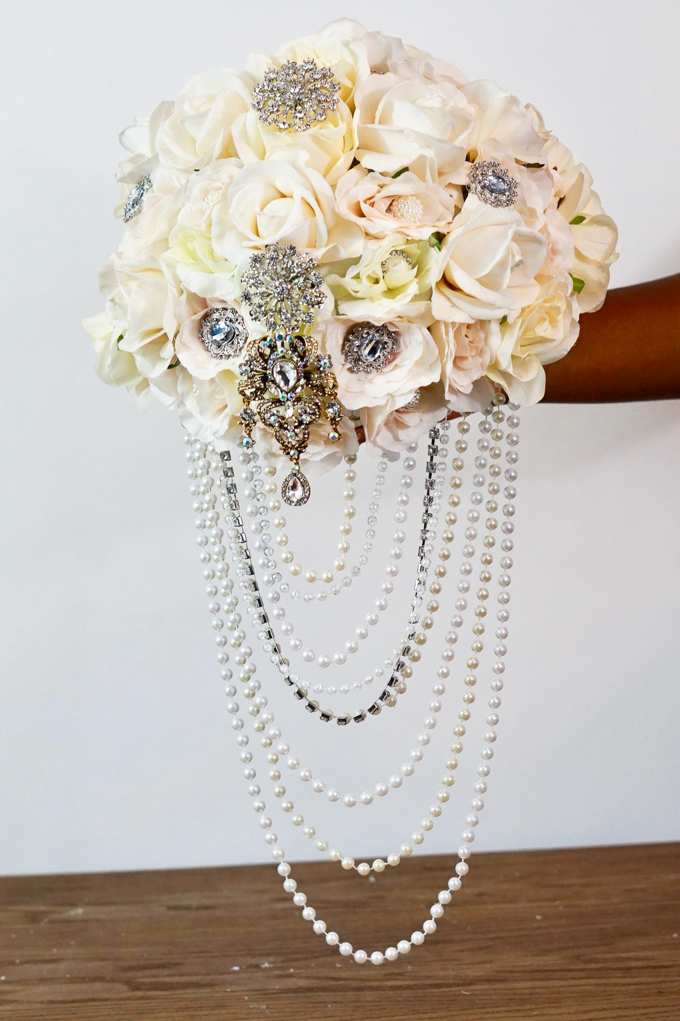Diy Elegant Brooch And Pearl Cascading Bridal Bouquet