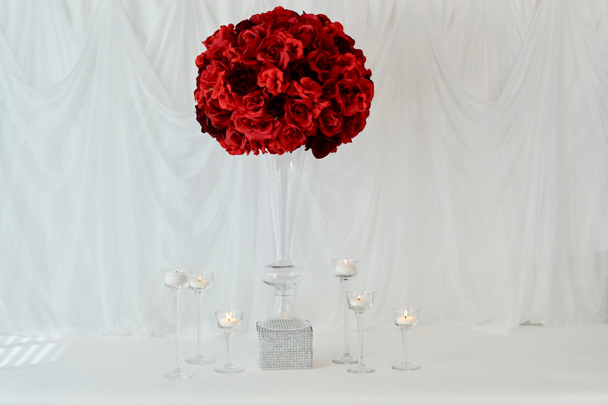 Diy Tall Glam Red Rose Wedding Centerpieces With Bonus Pedestal Under 5